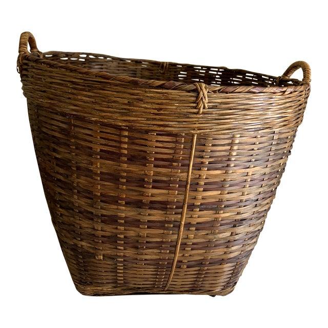 Earthy Wood Rustic Decor & Storage Basket For Sale