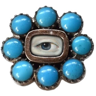 Early 19th Century Lover's Eye Georgian Turquoise Brooch For Sale