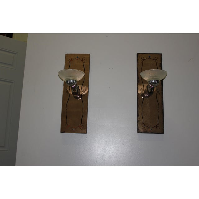 Pair of French Art Deco Pink Mirror Sconces by G.Leleu Circa 1940s For Sale - Image 9 of 11
