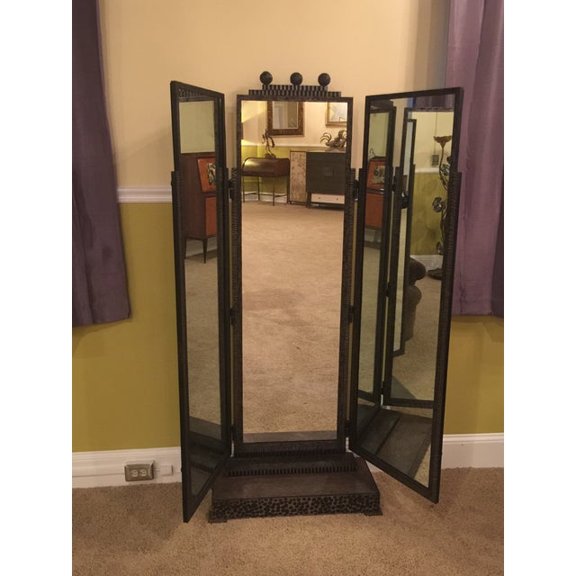 BEAUTIFUL JULES BUOY ART DECO WROUGHT IRON TRIFOLD FLOOR STANDING MIRROR For Sale - Image 10 of 11