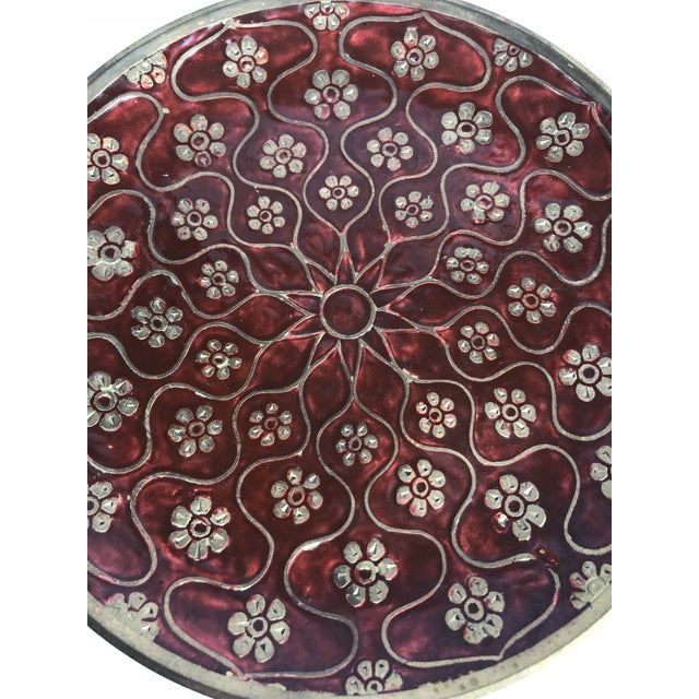 Asian Late 20th Century Vintage Brass Enamel Decorative Plate For Sale - Image 3 of 8