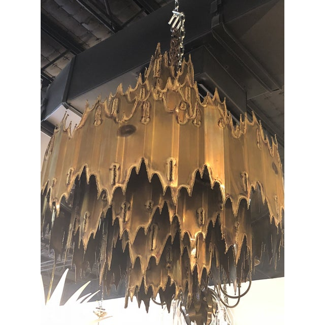 Metal Vintage Tom Greene for Feldman Brutalist Torch Cut Brass 7 Tier Chandelier For Sale - Image 7 of 11