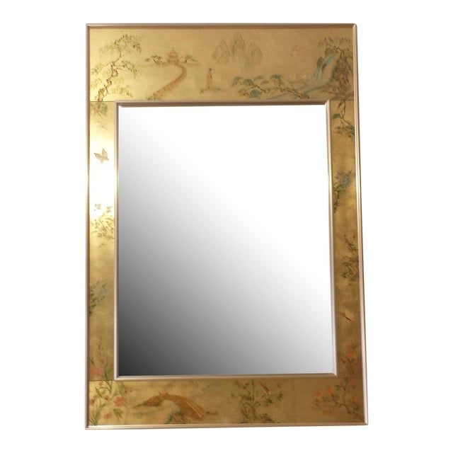 Labarge Chinoiserie Eglomise Reverse Painted Gold Leaf Mirror For Sale