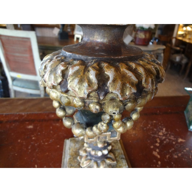This is a very pretty and delicate 19th century Italian gilt wood single lamp. It is a demi lune lamp with beaded swags,...