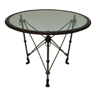 Ralph Lauren Regency Style Iron & Glass Round Side Table Gueridon For Sale