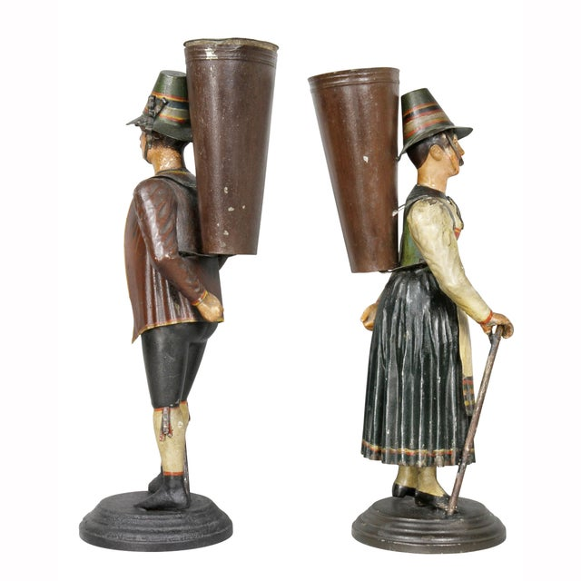 Dutch Painted Toleware Figural Flower Holders - a Pair For Sale - Image 9 of 11