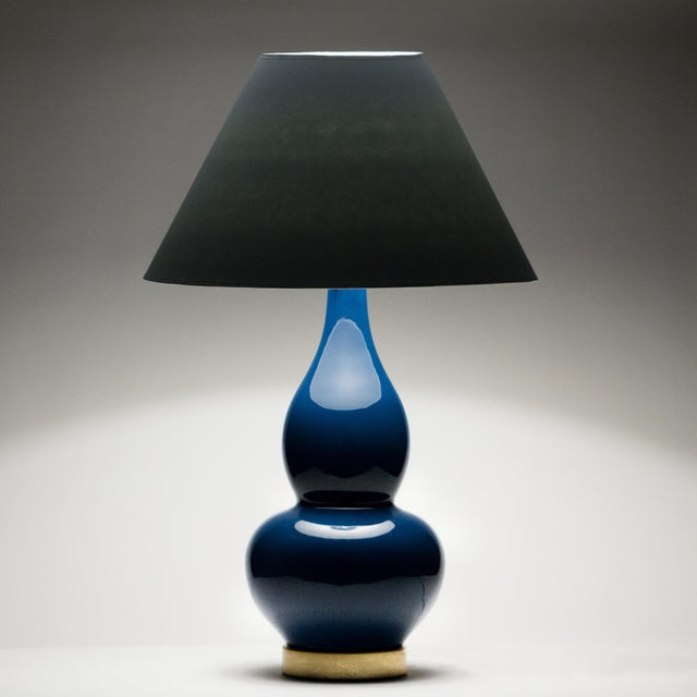 Transitional Sa Cosima Double Gourd Table Lamp, Prussian Blue/Blue Stream Shade - a Pair For Sale - Image 3 of 8