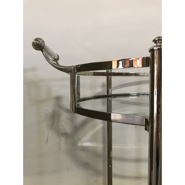 Polished Nickel Two Tier Bar Cart For Sale - Image 5 of 6