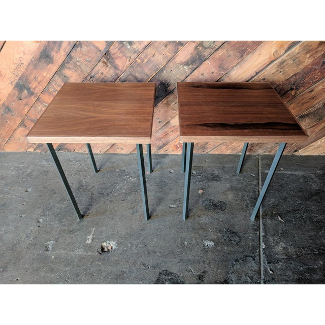 Custom Walnut & Iron Side Tables - A Pair - Image 2 of 5