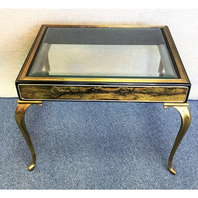 Mastercraft vintage brass and acid etched bronze occasional table by Bernhard Rohne c 1970s in excellent original...