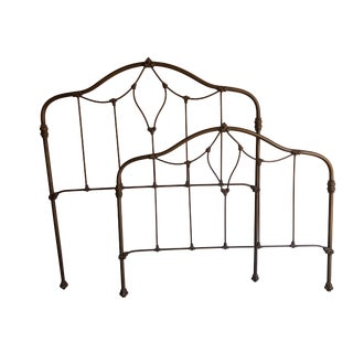 Vintage Solid Metal Headboard and Footboard For Sale