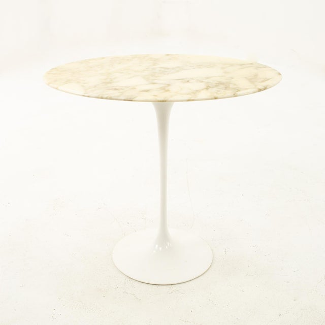 Knoll Knoll Mid Century Oval Marble Top Side End Tables With Tulip Base - a Pair For Sale - Image 4 of 12