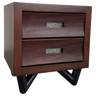 1950s Mid-Century Modern Walnut Dresser Nightstand For Sale