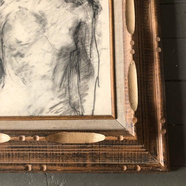 Figurative Vintage Original Female Nude Charcoal Study Drawing Vintage Carved Wood Frame For Sale - Image 3 of 5