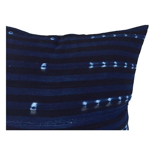 African Indigo Striped Pillows - A Pair - Image 2 of 6