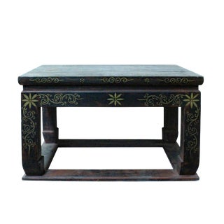 Distressed Black Lacquer Golden Graphic Rectangular Wood Stand Display For Sale