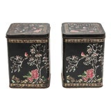 Image of Antique French Hand Painted Tole Tea Canisters - a Pair For Sale