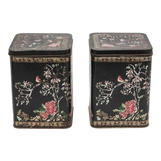 Antique French Hand Painted Tole Tea Tins - a Pair For Sale
