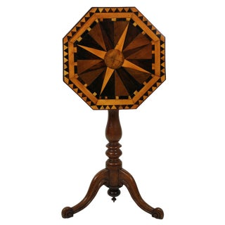 An English Geometric Marquetry Side Table For Sale