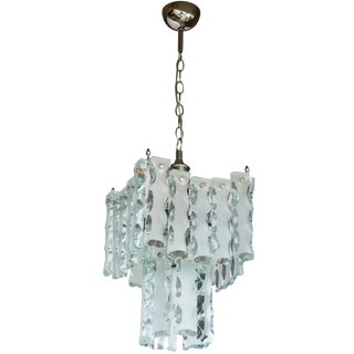 1950s Italian Mid-Century Murano Etched Glass Pendant Chandelier For Sale