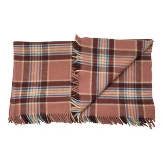 """Vintage 74""""x81"""" French Country Dusty Rose Plaid Full Queen Thick Wool Throw For Sale"""