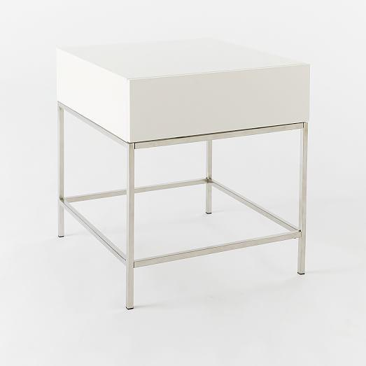 West Elm White Lacquer Side Table Chairish - West elm white side table