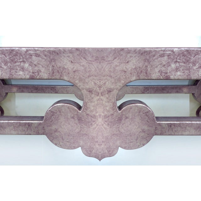 Inset Glass Top Scrolled Console Table - Image 4 of 9