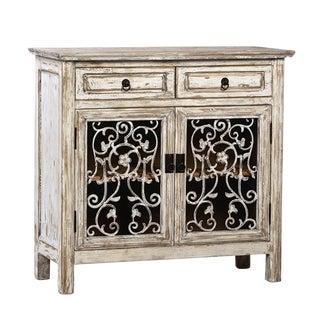 Antiqued White Vine Side Cabinet