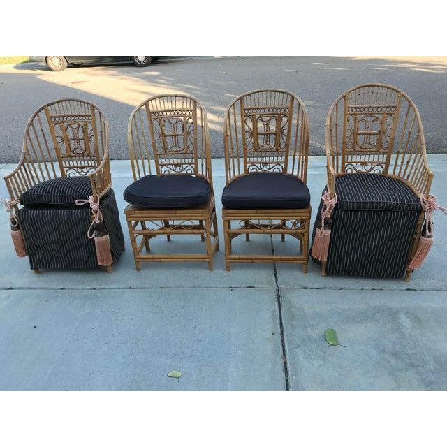 Thomasville Thomasville Brighton Pavillion Vintage Rattan Chair - Set of Four For Sale - Image 4 of 13