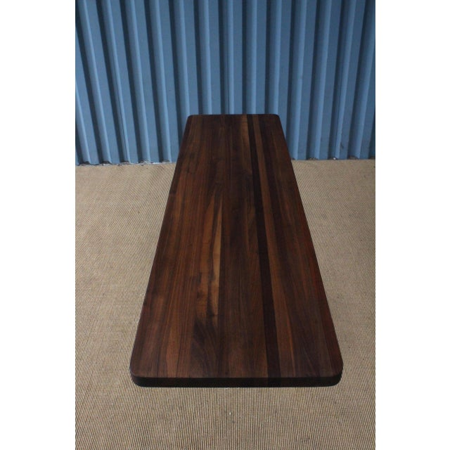 Solid Walnut Console Table on Brass-Plated Base, Usa, 1960s For Sale In Los Angeles - Image 6 of 9