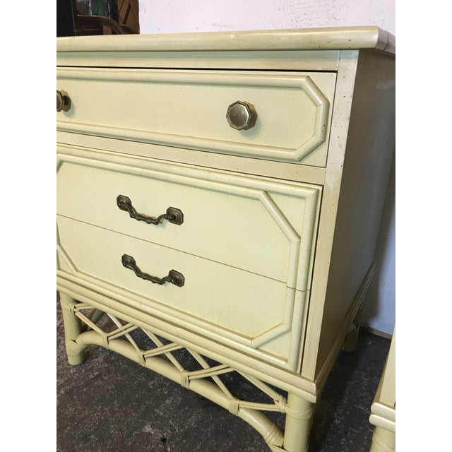 Yellow Vintage Ficks Reed Rattan & Wood Three Drawer Nightstands-Pair For Sale - Image 8 of 13