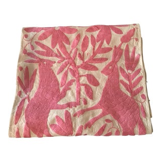 1960s Boho Chic Otomi Embroidered Pink Textile