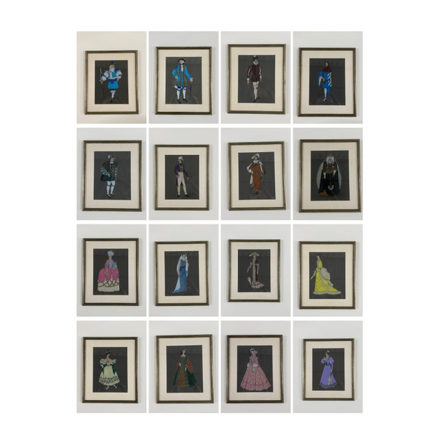 Original Framed Theater Costume Sketches by Autry - Set of 16 For Sale - Image 13 of 13