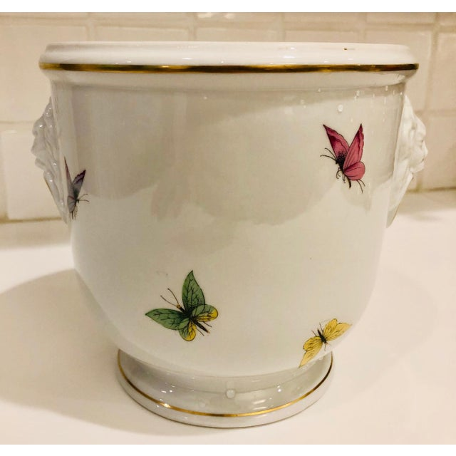 1930s 1930s Limoges Butterflies and Lion's Head Cachepot For Sale - Image 5 of 13