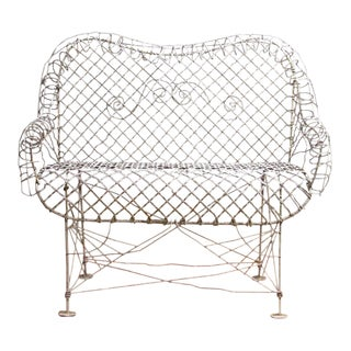 Vintage Outdoor Patio White Iron Wire Settee For Sale