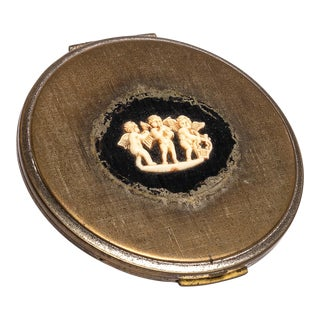 Brass Cameo Powder Compact For Sale