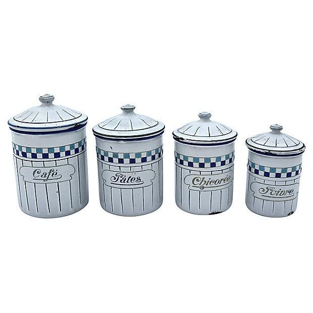 French French Enamel Kitchen Canisters - Set of 4 For Sale - Image 3 of 4