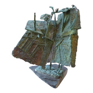 Modern Angular Abstract Bronze Figurative Sculpture on Slate For Sale