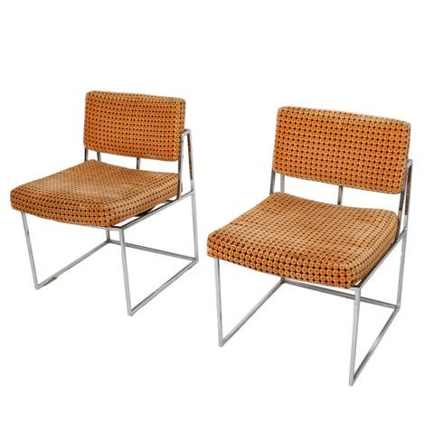 Thayer Coggin Upholstered Chrome Chairs - A Pair - Image 1 of 9