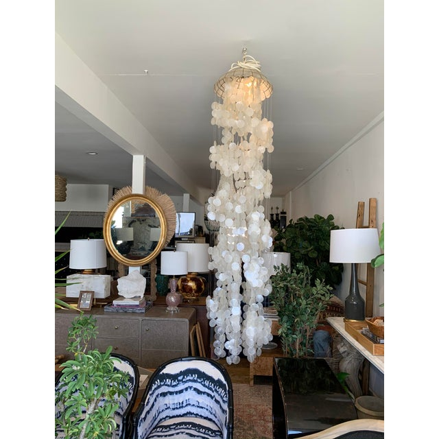 1970s Capiz Shell Spiral Chandelier For Sale - Image 9 of 9