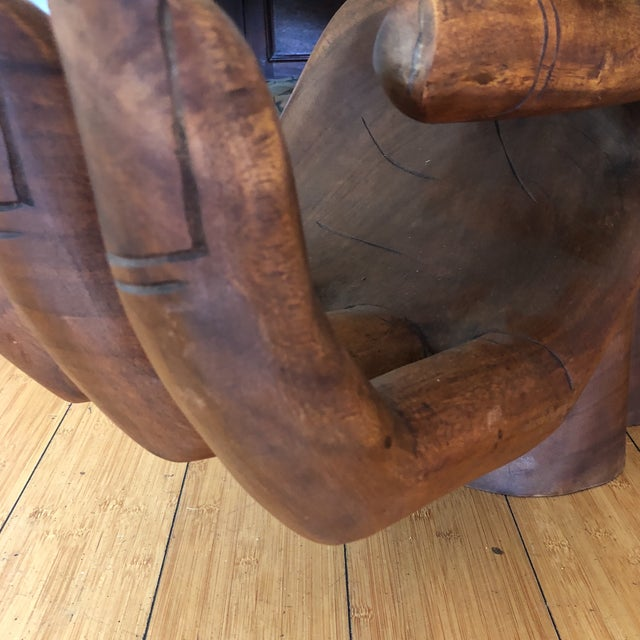 1980s Contemporary Wooden Guayasamin Open Hands Coffee Table For Sale In Atlanta - Image 6 of 11