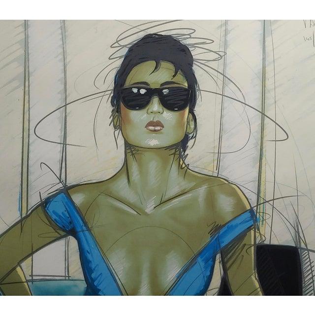 Dennis Mukai - Model W/Black Sunglasses- Original 1980s Serigraph -Signed For Sale - Image 4 of 9