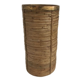 Mid-Century Modern Gabriella Crespi Style Pencil Reed and Brass Umbrella Stand For Sale