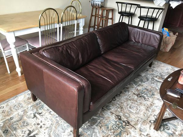 Pottery Barn Austin Espresso Leather Sofa For Sale In Chicago   Image 6 Of 6