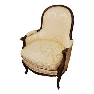 Louis XV Style Walnut Upholstered Bergere Armchair For Sale