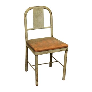 Rustic Upholstered Metal School Chair For Sale