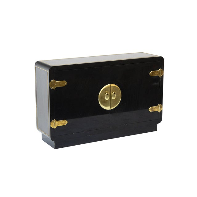 Mastercraft Console Cabinet in Black Lacquer and Brass For Sale
