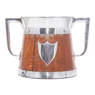 19th Century Treen Crest Embellishment Ice Bucket and Liner For Sale
