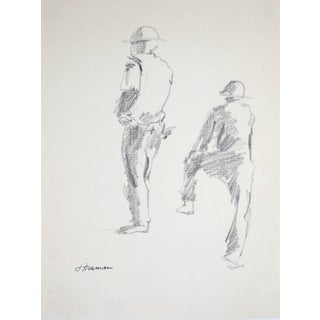 Jack Freeman Construction Workers Graphite Drawing 1976 For Sale