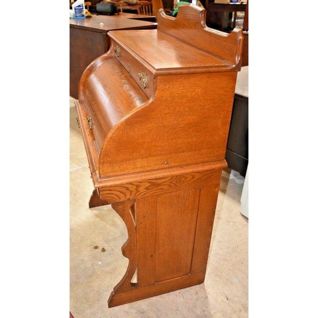 Antique Oak Drum Roll Top Desk For Sale - Image 10 of 11